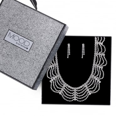 Silver diamante loop necklace and earring set