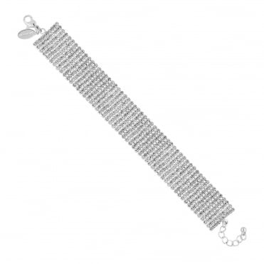 Silver diamante multi row bracelet