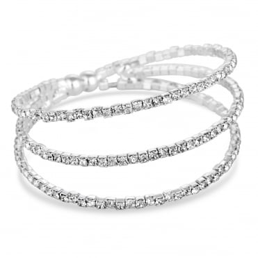 Silver diamante multi row cuff