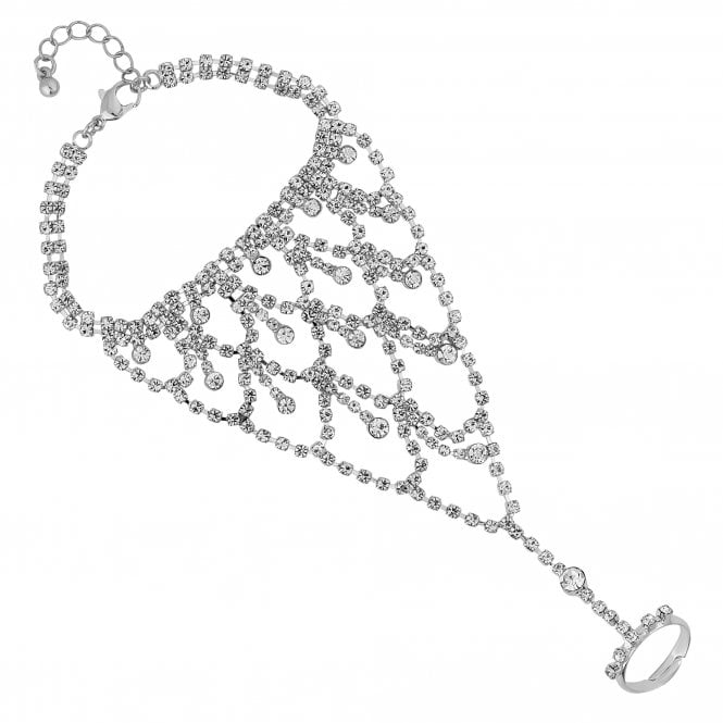 Silver Diamante Statement Hand Chain
