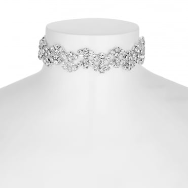 Silver diamante wave choker