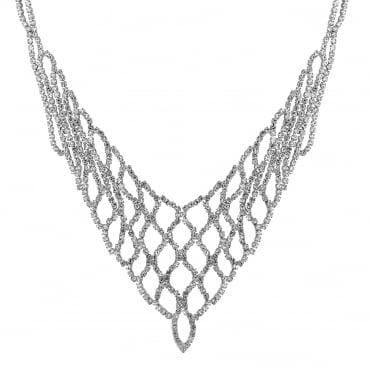 Silver diamante weave v necklace