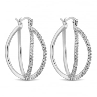 Silver double row hoop earring