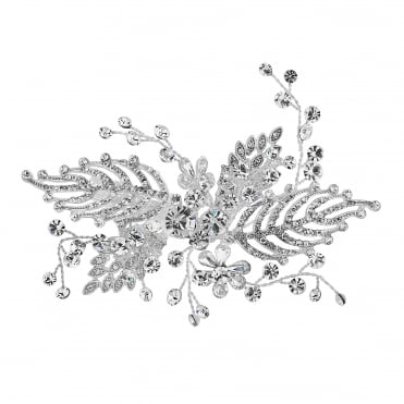 Silver feather hair comb