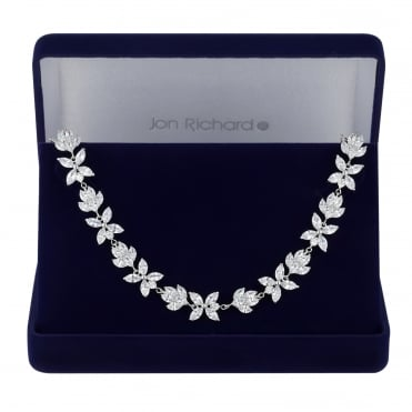 Silver floral choker necklace