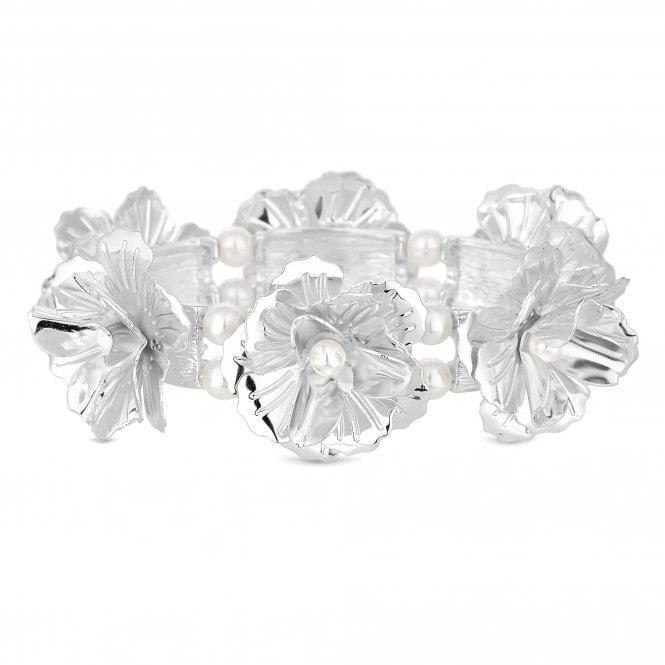 Silver Flower Leaf Stretch Bracelet