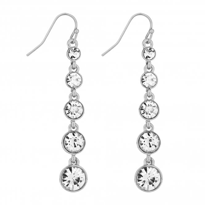 Silver Graduated Crystal Drop Earring