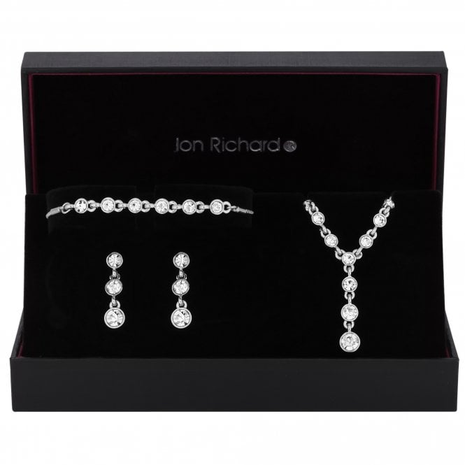 Silver Graduated Crystal Drop Jewellery Set