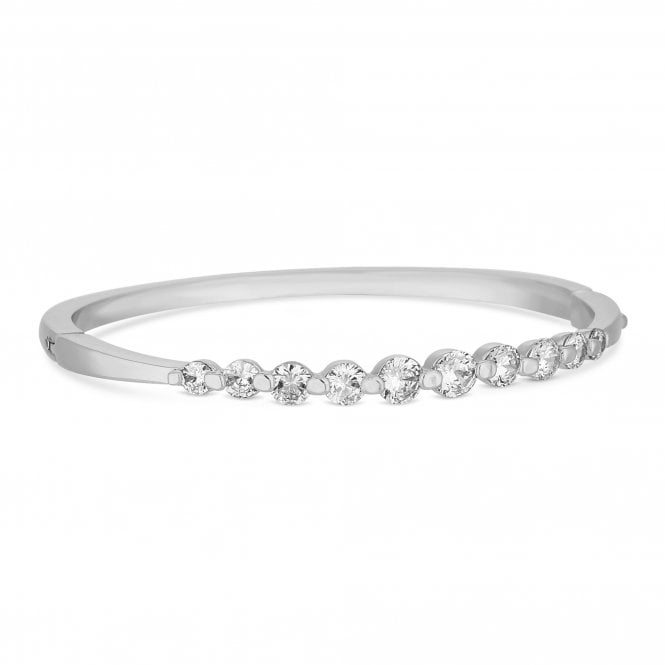 Silver Graduated Cubic Zirconia Bangle