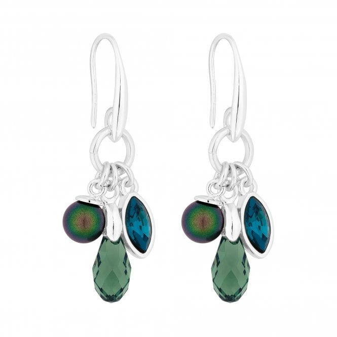 Silver Green Charm Drop Earring Embellished With Swarovski Crystals
