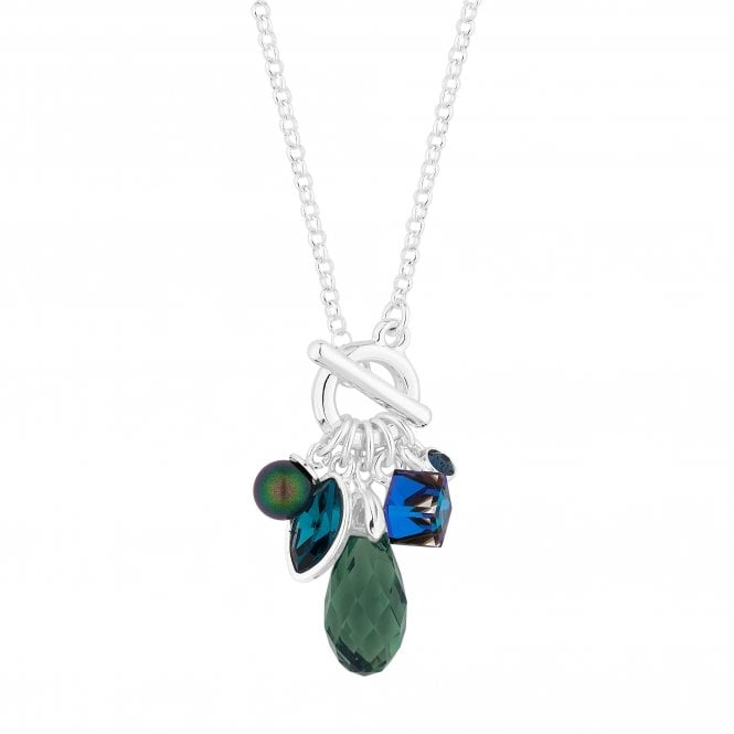 Silver Green Charm Pendant Necklace Embellished With Swarovski Crystals
