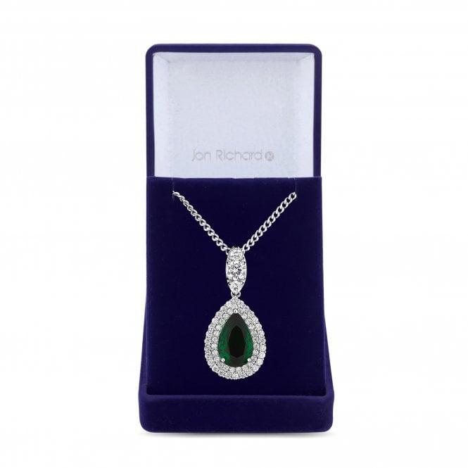 Silver Green Cubic Zirconia Peardrop Pendant Necklace
