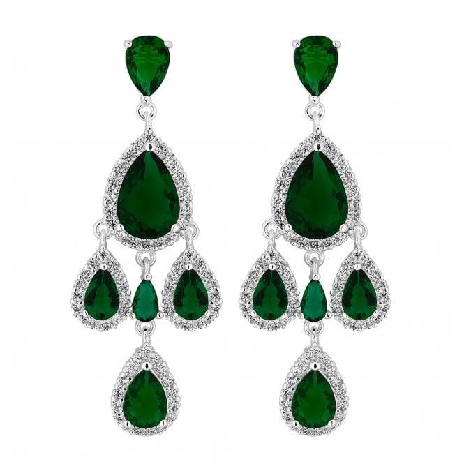 Silver Green Cubic Zirconia Peardrop Statement Earring