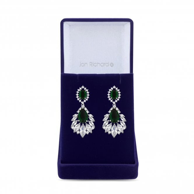 Silver Green Cubic Zirconia Statement Earring