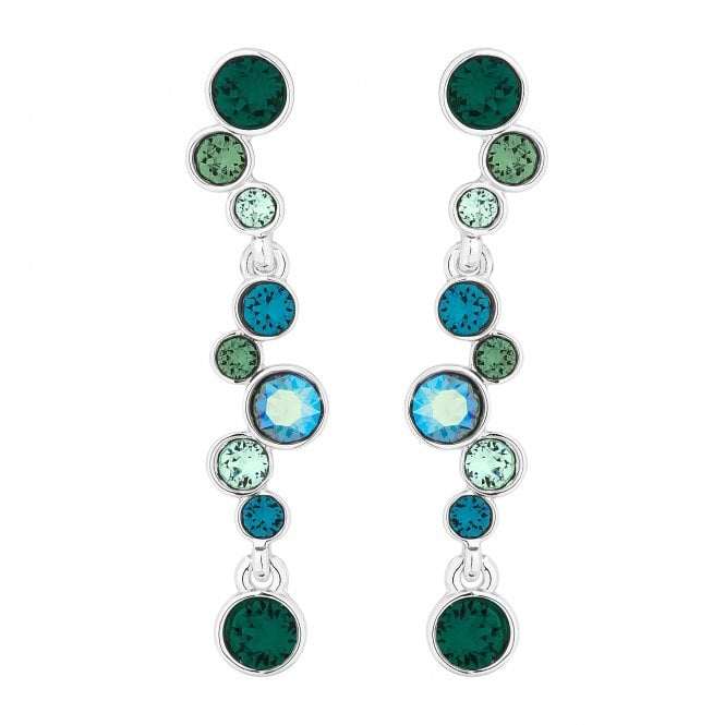 Silver Green Drop Earring Embellished With Swarovski Crystals