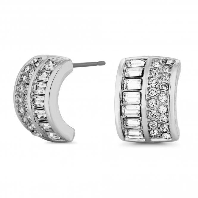 Silver Half Hoop Stud Earring Embellished With Swarovski Crystals
