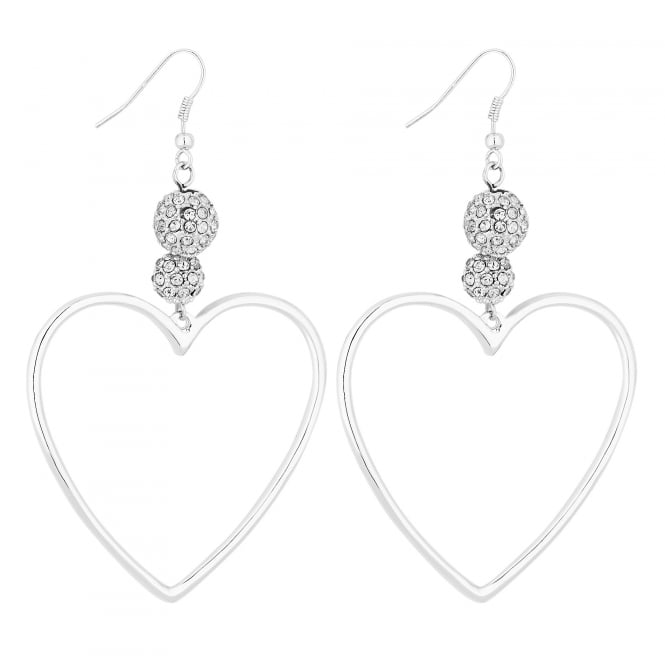 Silver Heart Hoop Drop Earrings