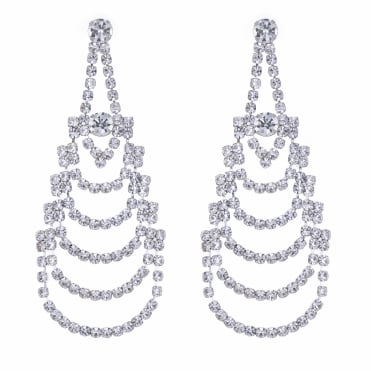 Silver layered chandelier earring