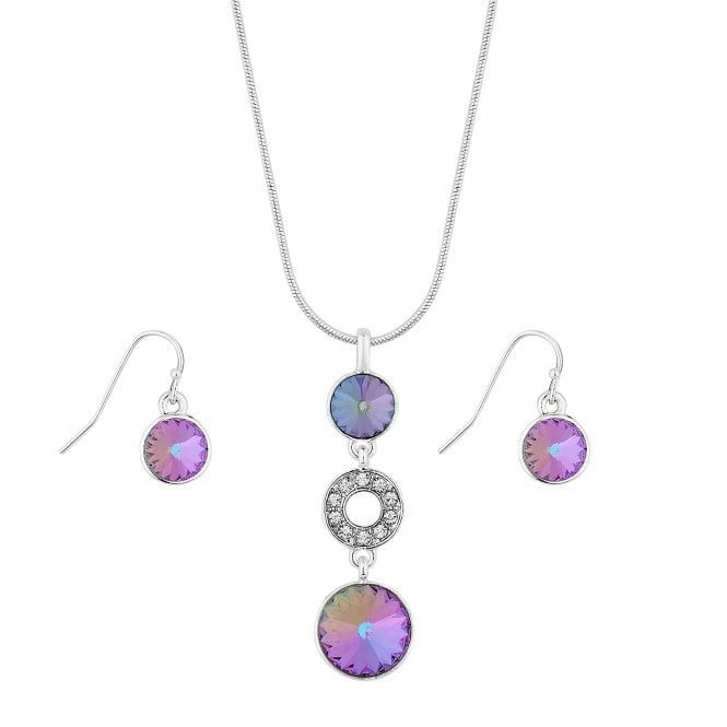 Silver Multi Colour Crystal Jewellery Set Embellished With Swarovski Crystals