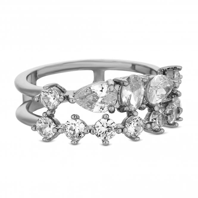 Silver Multi Cubic Zirconia Double Row Ring