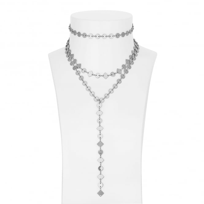 Silver multi row choker necklace