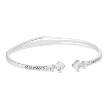 Silver multi stone pave bangle