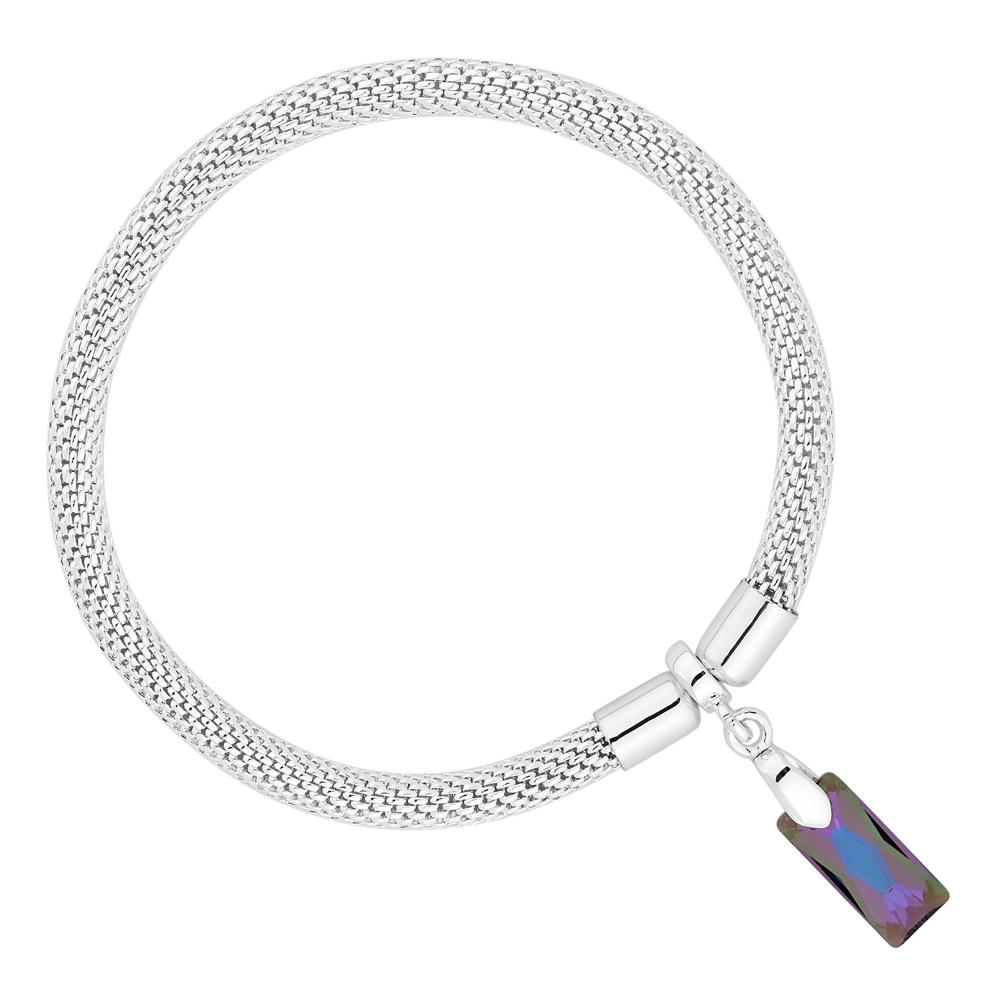 Silver Multi Tone Mesh Bracelet Embellished With Swarovski Crystals