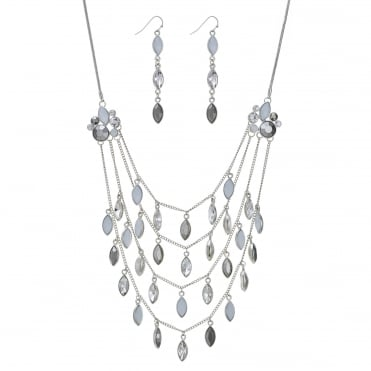Silver navette droplet multi row necklace and earring set