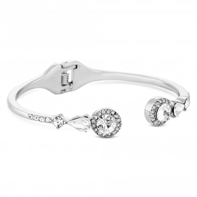 Silver Open Crystal Halo Bangle