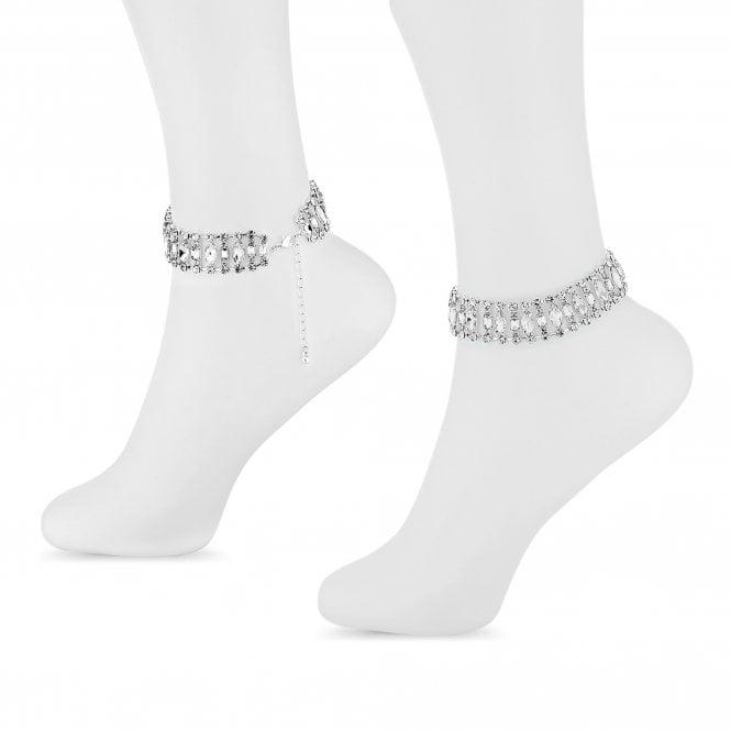 Silver Ornate Crystal Anklet Set