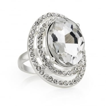 Silver oval statement ring