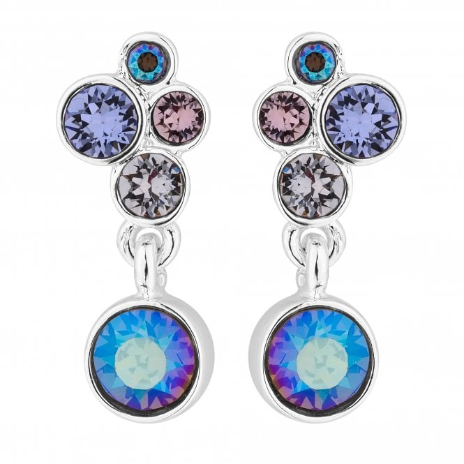 Silver Pastel Drop Earring Embellished With Swarovski Crystals