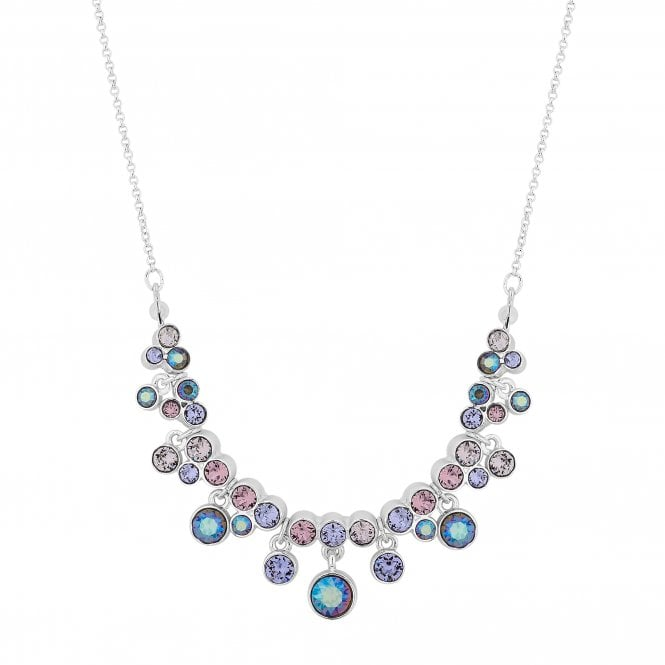 Silver Pastel Drop Necklace Embellished With Swarovski Crystals