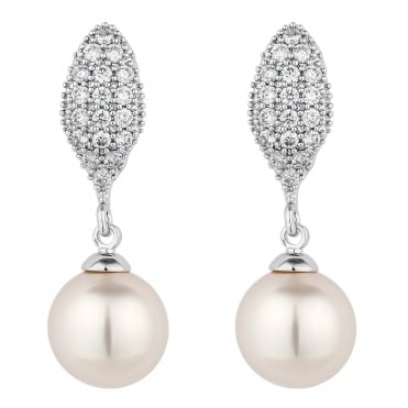 Silver pave and pearl drop earring