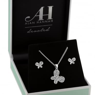 Silver pave butterfly jewellery set