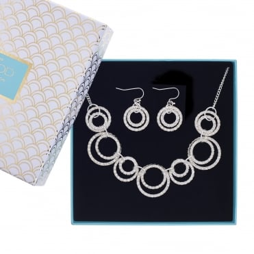 Silver pave circles jewellery set