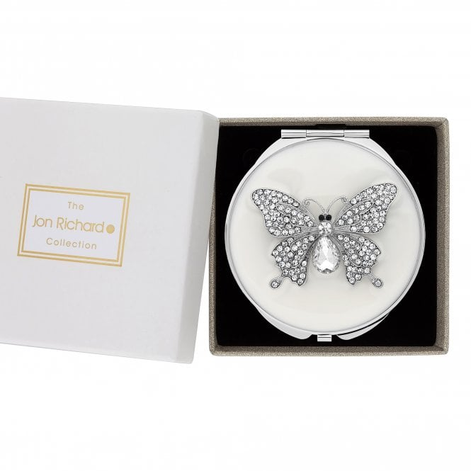 Silver Pave Crystal Butterfly Compact Mirror