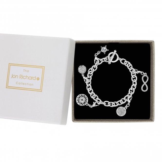 Silver Pave Crystal Charm Bracelet