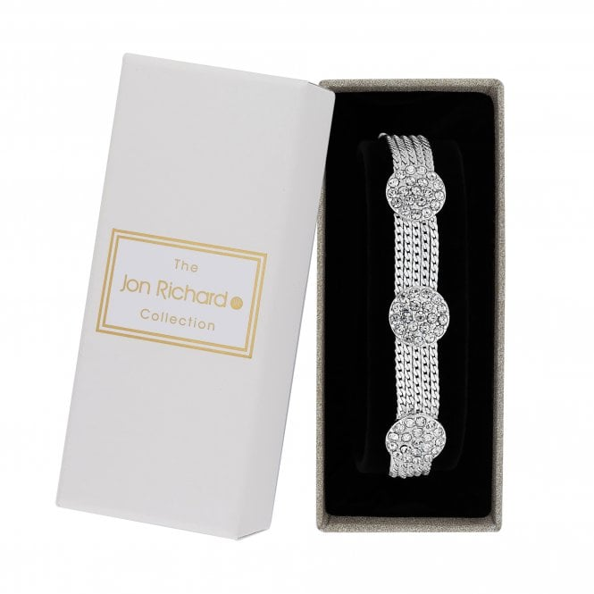 Silver Pave Crystal Disc Multi Row Bracelet