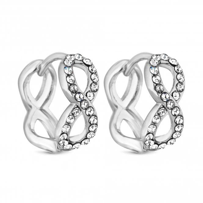Silver Pave Crystal Infinity Mini Hoop Earring