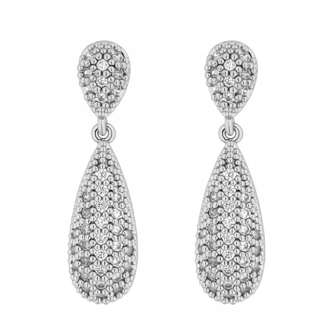 Silver Pave Crystal Peardrop Drop Earring