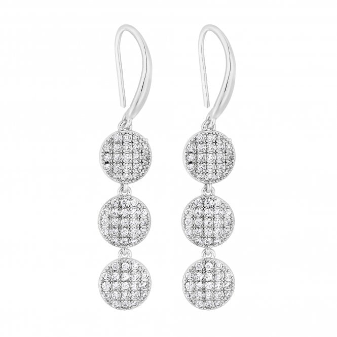 Silver Pave Cubic Zirconia Disc Drop Earring