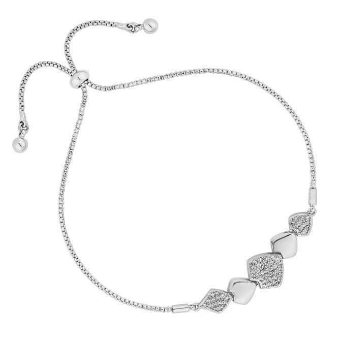 Silver Pave Cubic Zirconia Toggle Bracelet