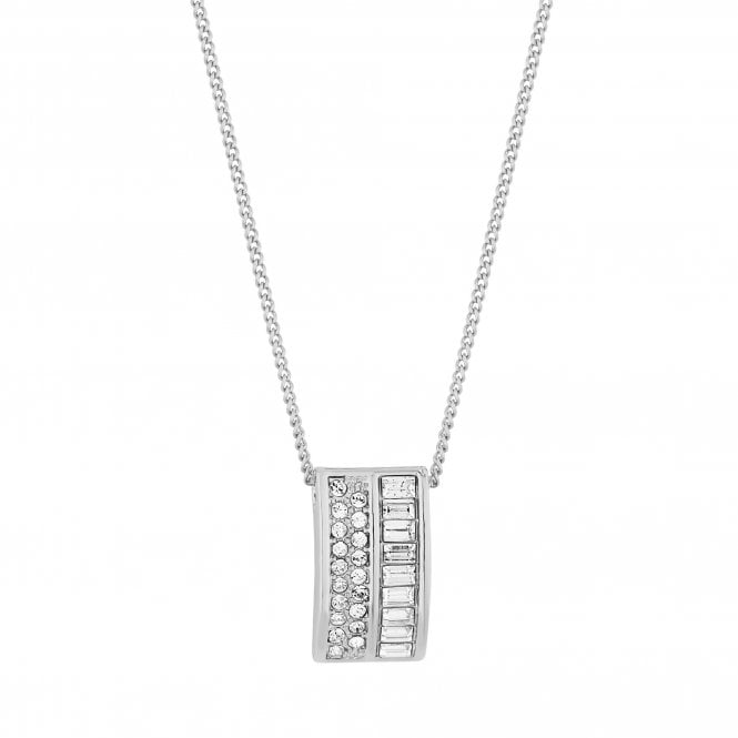 Silver Pave Curve Pendant Necklace Embellished With Swarovski Crystals