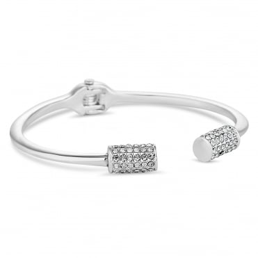 Silver pave end bangle