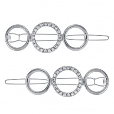 Silver pave open circle hair slide set