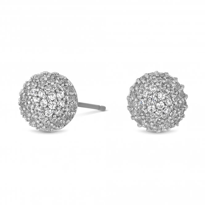 Silver Pave Orb Stud Earring
