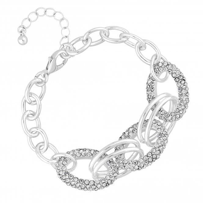 Silver Pave Oval Link Bracelet