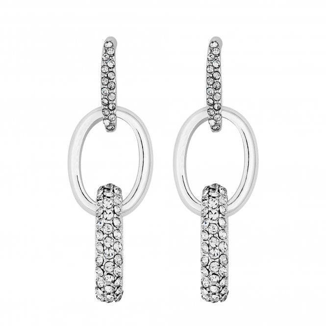 Silver Pave Oval Link Drop Earring