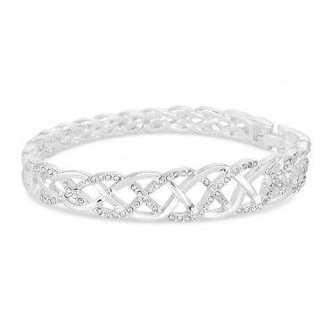 Silver pave plaited bangle